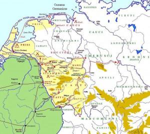 """Veldtochten van Drusus in Germania. De afbeelding van het Flevomeer is niet geheel juist, daar dit meer """"ingesloten"""" was."""