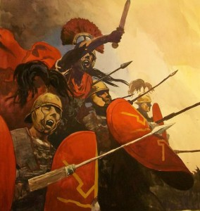 Bronzen helmen met grote pluimen en veel maliënkolders. Dat zijn de soldaten uit de tijd van Julius Caesar!