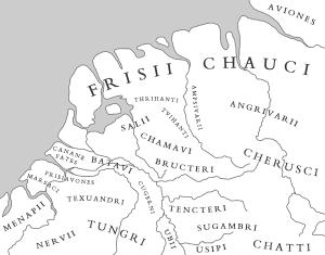 Stamgebieden in de Lage Landen in de 1e en 2e eeuw. Het is van de kleinere stammen niet altijd even zeker waar hun exacte woonplaats was. Het is mogelijk dat stammen als de Tungri, Toxandriërs, Frisiavonen en de stammen aan de Rijn ontstaan waren uit restanten van de Eburonen.