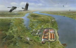 Het Rijngebied was in de Romeinse tijd aanzienlijk moerassiger dan nu, zoals te zien is op deze artistieke weergave van Nigrum Pullum. (Afbeelding door Ulco Glimmerveen)