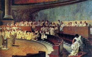 Cicero keert zich tegen Catilina, fresco door Cesare Maccari