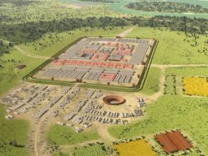 Castra Vetera I, gekenmerkt door een amfitheater en een kampdorp dat welhaast op een eigen stadje begon te lijken. Niet zo vreemd met een heel legioen vlakbij.