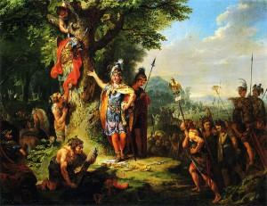 Der Triumph Hermanns, door Tischbein. Arminius wordt neergezet als een Duitse volksheld, gehuld in schitterende kledij (tot en met een pantervel aan toe) terwijl de overige Germanen eruitzien als woestelingen in beestenvellen.