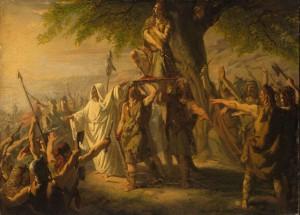 In de zomer van 69 werd Brinno op het schild geheven en vielen de Cananefaten de Romeinse forten in hun gebied aan, zoals hier uitgebeeld door Jacob de Vos.