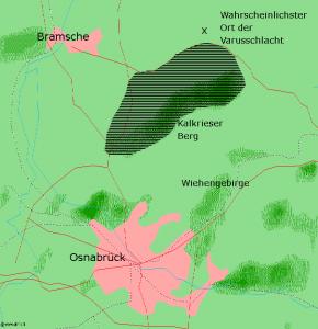 Kaart van de vermoedelijke locaties van de slag. De Romeinen trokken ten noordoosten van Osnabrück waarschijnlijk door het woud van Kalkriese. Ten noorden daarvan werden ze opgewacht.
