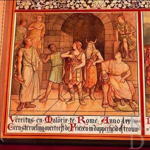 """""""Geen sterveling overtreft  de Friezen in dapperheid of trouw."""" Afbeelding van het verhaal van Malorix en Verritus in de Statenzaal van het Friese provinciehuis. Waarschijnlijk droegen de hoofdmannen in werkelijkheid geen beestenvellen maar wollen kleding."""