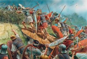 De wallen, vermoedelijk voorzien van kleine hekken, waren bijna onmogelijk te nemen voor de Romeinen zolang de Germanen hen bleven bestoken. (Illustratie door Peter Dennis)