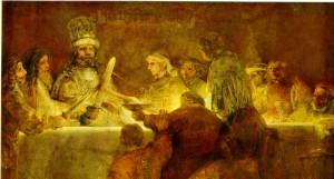 De samenzwering van Claudius Civilis (1661), door Rembrandt van Rijn. Het (gefantaseerde) tafereel was bedoeld voor het stadhuis van Amsterdam (nu het Paleis op de Dam) omdat de Bataafse opstand vaak met de Nederlandse Opstand vergeleken werd. Het doek werd afgekeurd omdat de stijl te ontraditioneel bevonden werd.