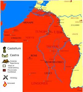 De Opstand der Bataven op haar hoogtepunt, begin 70 AD. De in rode letters weergegeven stammen zijn de rebellen en hun bondgenoten. Maar het zou niet lang duren voor hier verandering in kwam.