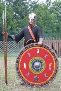 Romeinse soldaat eind 3e eeuw. De uitrusting is tegen die tijd sterk veranderd.