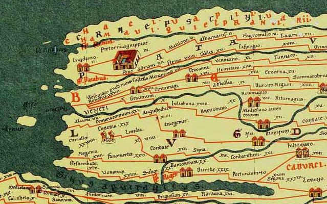 """De Peutinger kaart (middeleeuws kopie van een laat-Romeinse kaart) vermeld ten noorden van Batavia (het Nederlands rivierengebied) """"Hamavi qui et Pranci"""", wat erop duidt dat de Chamaven onder de Franken gerekend werden."""