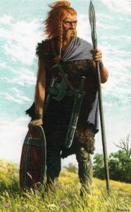 Een afbeelding die een Frankische krijger voorstelt. Omdat het om een losse confederatie ging, konden de Romeinen slechts een deel van hen toestaan op Romeinse grond te gaan wonen, in de hoop dat dit hen verdelen zou.