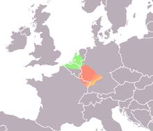 De Salische Franken (in het groen) kwamen uiteindelijk in de Nederlandse Rijndelta te wonen als foederati.
