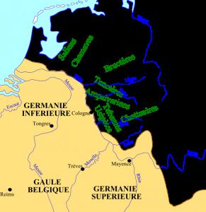 De stammen in de regio tijdens de 3e eeuw. De groen gekleurde stammen werden door de Romeinen als Frankisch aangemerkt.