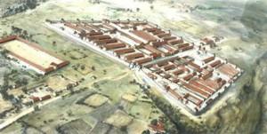 De castra van Noviomagus, gezien vanuit het oosten, met links het grote forum en bovenaan het amfitheater.