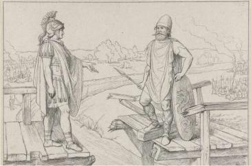 Cerialis en Civilis onderhandelen aan weerszijden van een vernielde brug. Ets uit 1880-1889 (bron:Rijksmuseum)