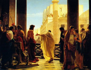 Ecce homo! 'Zie de mens!' Pilatus toont de gegeselde Jezus van Nazareth aan het volk.