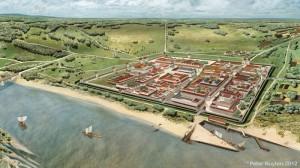 Noviomagus was beduidend kleiner dan Colonia Agrippina of Traiana. Maar van alle Romeinse steden in Nederland was het de grootste. (Illustratie door Peter Nuyten)