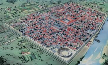 Colonia Ulpia Traiana, oftewel Xanten in zijn hoogtijdagen, hier gezien vanuit het noordoosten, waar het amfitheater lag.