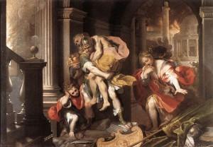 Aeneas' vlucht uit Troje (1598) door Frederico Barocci. De door Anchises gedragen voorwerpen stellen de beeldjes van de Laren en Penaten voor.