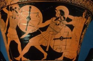 Aeneas dreigt het onderspit te delven tegen Diomedes. Zijn moeder Aphrodite (Venus) staat achter hem.