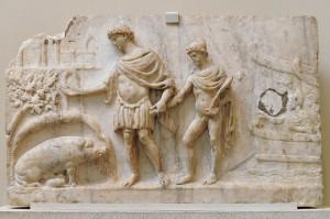 Aeneas landt op de Italiaanse kust. Naast hem zijn zoontje Ascanius die hij aan de hand meeneemt. Een zeug wijst hem de plek waar hij zijn nieuwe stad moet bouwen.