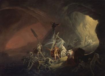 Aeneas en de sibille dalen af in de Onderwereld.