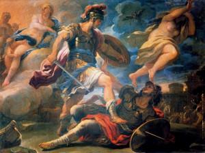 Aeneas verslaat Turnus (olieverfschilderij door Luca Giordano)
