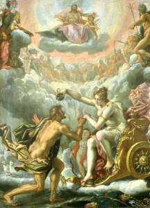 Aeneas wordt door Venus opgenomen op de Olympus. (Schilderij door Peter Candid.)