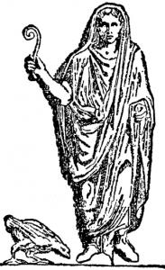 Een Romeinse augur of vogelwichelaar, toga over het hoofd en lituus in de hand. Vogelwichelarij was zeer gebruikelijk bij de Romeinen.