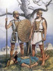 De eerste Romeinse soldaten (of eigenlijk meer krijgers) werden mogelijk sterk beïnvloed door Griekse hoplieten en Samnitische en Etruskische krijgers. (Tekening door Richard Hook.)