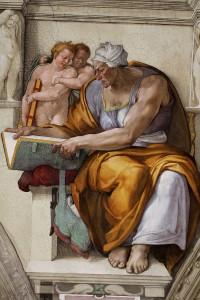 De sibille van Cumae, zoals afgebeeld op het plafond van de Sixtijnse kapel door Michelangelo.