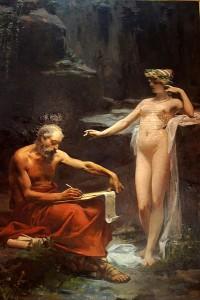 De nimf Egeria dicteert de wetten van Rome aan Numa Pompilius, door Ulpiano Checa.