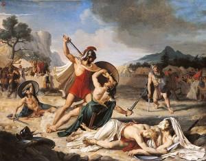 De strijd der Horatii en Curiatii, door Fulchran-Jean Harriet. Publius' broers zijn gedood, maar met zijn slimheid verslaat hij de Curiatii één voor één.