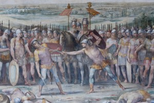 De strijd tussen de Horatii en de Curiatii, door Giuseppe Cesari. Op de achtergrond kijken Tullus Hostilius en Mettius Fufetius toe.