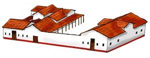Het zogenaamde Huis van Drusus was verdeeld in twee vleugels, met een grote binnenplaats ertussen.