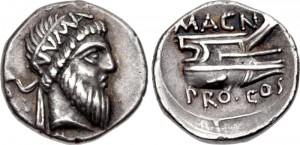 Koning Numa Pompilius, hier afgebeeld op een denarius van Pompeius, stond bekend om zijn intelligentie en soberheid.