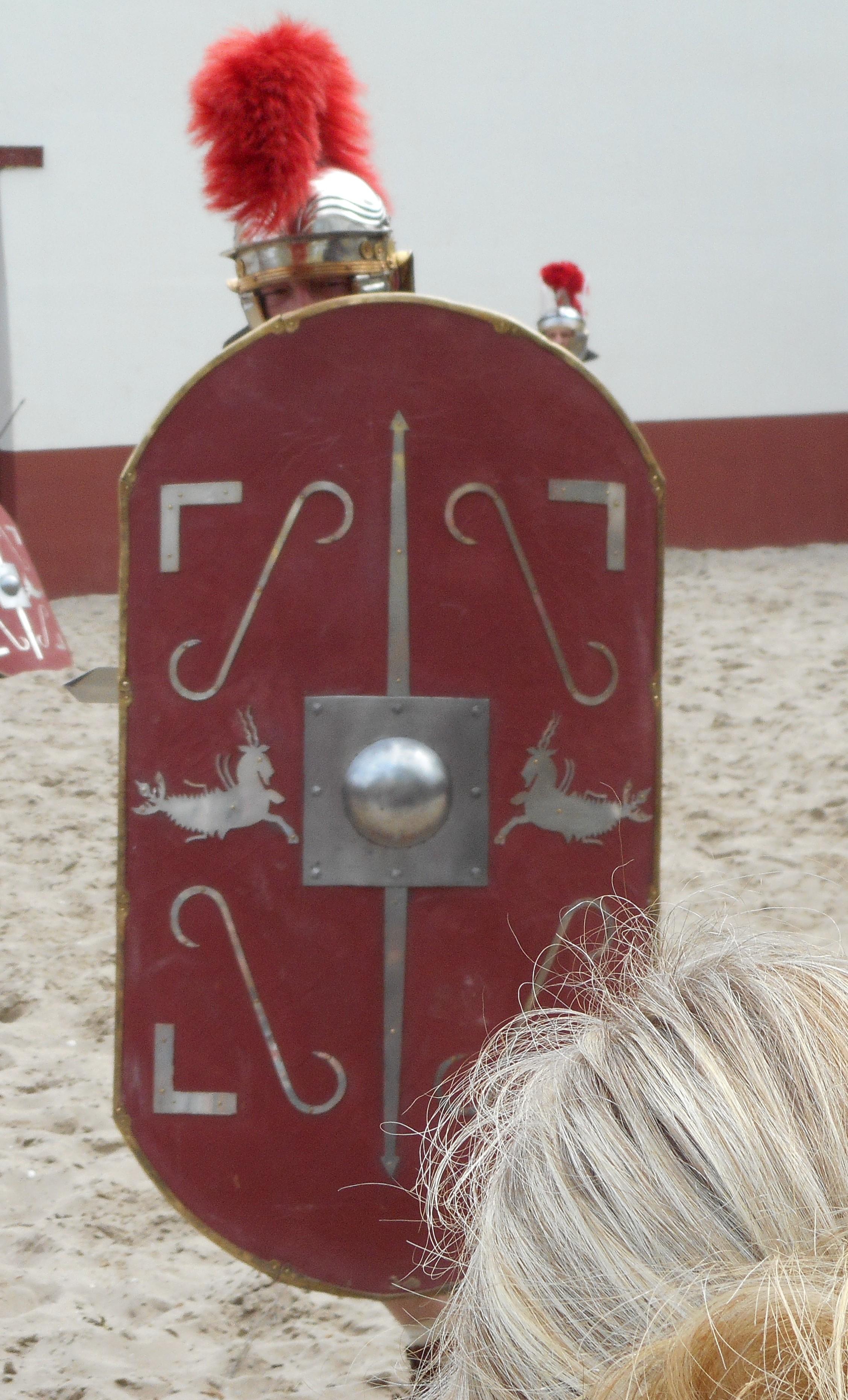 Het scutum bood zeer goede bescherming. De versie op deze afbeelding is 1e-eeuws.
