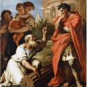 Koning Tarquinius de Oudere vraagt advies aan Attus Navius de augur. De wetsteen lijkt hier vervangen door een stenen zuil.