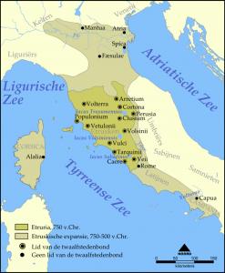 Rome grensde in haar eerste eeuwen aan de Etruskische twaalfstedenbond. In de tijd van koning Tarquinius moet Rome onder Etruskische invloed zijn geweest.