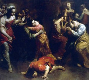 Brutus kust de aarde, door Giuseppe Crespi. Hiermee werd de ondergang van de Tarquinii voorzegd.