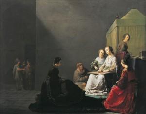 Lucretia aan het werk, door Willem de Poorter (1633). Het schilderij is vrij uitzonderlijk omdat de meeste afbeeldingen van Lucretia andere delen van haar tragische verhaal bevatten.