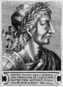 Servius Tullius als 6e koning van Rome. (16e-eeuwse afbeelding door Frans Huys)