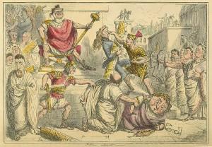 Tarquinius maakt zichzelf koning van Rome. Tekening door John Leech (19e eeuw) uit The Comic History of Rome