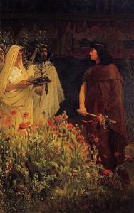 Tarquinius Superbus, door Lawrence Alma-Tadema. De koning (purperen mantel) ontvangt een lauwerkrans. Op de voorgrond de papaverplanten.