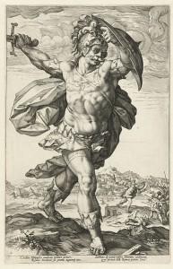Horatius op de Brug. Gravure uit 1586 door Hendrik Goltzius.