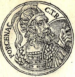 Afbeelding uit 1553 die Lars Porsena voorstelt.
