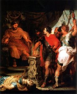 Mucius Scaevola voor Porsena, schilderij door Peter Paul Rubens.