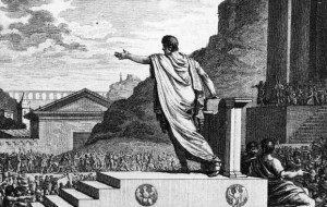 Gaius Gracchus spreekt het volk toe. Hij en zijn broer Tiberius zijn zonder twijfel de beroemdste Romeinse volkstribunen.