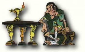 Asterix en de Helvetiërs (1970) is het enige Asterix-album waar een quaestor in voorkomt. Zijn groene kleding is pure fantasie: een quaestor droeg witte kleding, met rode clavi op zijn tunica.